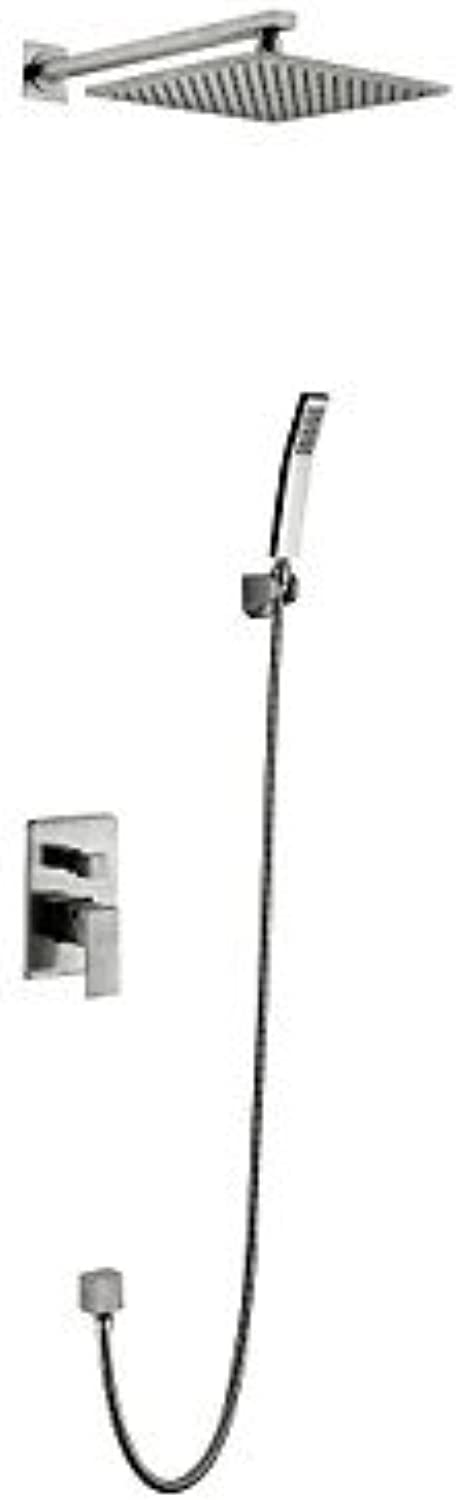 BingHaiY Wall Mounted Ceramic Valve Two Handles Four Holes for Nickel Brushed , Shower Faucet