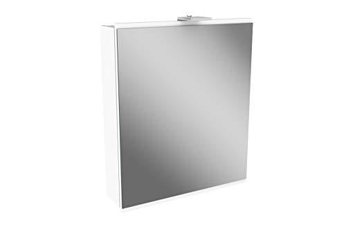 FACKELMANN LED Spiegelschrank Lima/Badschrank mit Soft-Close-System/Maße (B x H x T): ca. 60 x 73 x 15,5 cm/Möbel fürs WC oder Badezimmer/Korpus: Weiß/Front: Weiß/Spiegel