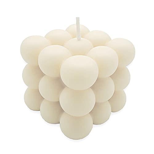 Bubble Candle | nachhaltige Kerze aus Rapswachs | Handmade in Germany | 100% vegan | candlery. - die Kerzenmanufaktur aus Münster (Creme)