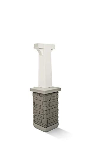 Premium Mailbox Post Set (Pedestal, Classic White)