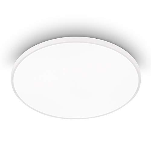 EGLO LED Deckenleuchte Kaoki, 1 flammige Aufbauleuchte mit Backlight, Deckenlampe Modern aus Stahl und Kunststoff in Weiß, LED Aufbaulampe neutralweiß, Ø 31,5 cm