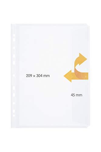 perfect line 20 Dokumenten-Hüllen DIN-A4 mit Klappe, Klarsicht-Folien seitlich offen, Prospekt-Huelle mit Verschluss zum Abheften, Mappe gelocht mit Eingriff, Sicht-Tasche zum Schutz von Papier, Akten