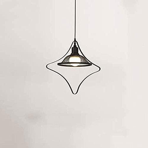 ZRABCD Lámpara Colgante Luz Araña Luz de Techo Diseño Geométrico Creativo, Colgante de Hierro Americano Simple Moderno Colgante Negro Ing Industrial E27 Enchufe,a