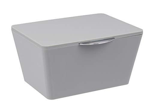 WENKO Aufbewahrungsbox mit Deckel Brasil Grau Füllkörbchen Wäschebox Ablage