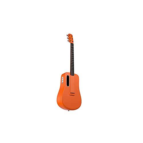 AITAOZI Guitarra acústica, 36 Pulgadas de Fibra de Carbono Guitarra Balada de Chapa de Segunda generación, sintonizador, Correa, selecciones, Cadenas Extra, Rosa Claro (Color : Orange)