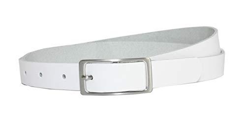 Vascavi Ledergürtel, 2 cm breit, Made in Germany, echt Leder Gürtel für Damen, als Hüftgürtel, kürzbar (105 cm Gesamtlänge 115 cm, Weiß)