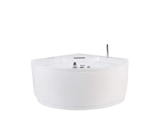 Beliani Milano - Bañera para hidromasaje con luz LED redonda, color blanco
