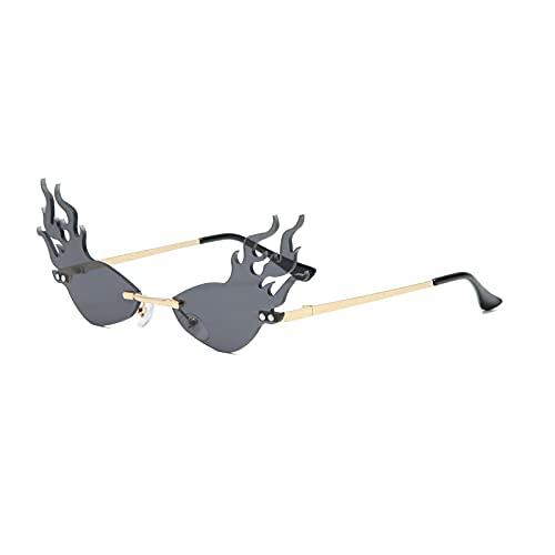 WANGZX Las Gafas De Sol De Llama Triangular Sin Marco De Ojo De Gato Son Adecuadas para Gafas De Sol De Mujer, Marcos De Metal De Moda Y Lujosos C01