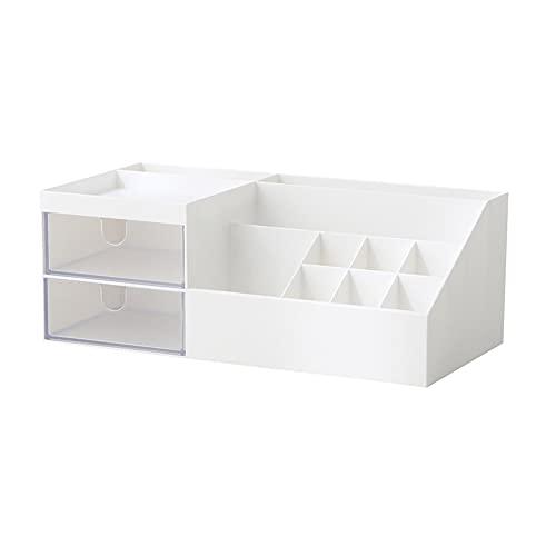 SHYPT Multifuncional Escritorio Cosméticos Papelería Joyería Cajón Transparente Compartimiento de plástico Caja de Almacenamiento Organización (Color : White)