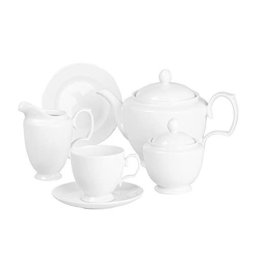 Zestaw kawowy, zestaw do kawy i herbaty dla 6 osób, polska porcelana, MariaPaula Biała, 21 elementów