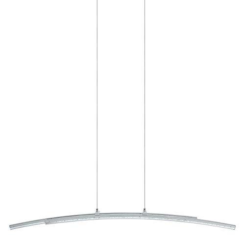 Eglo Pertini, lampada a sospensione a 2 luci, lampada a sospensione in acciaio, alluminio e plastica, lampada da tavolo da pranzo, lampada da soggiorno in cromo, trasparente