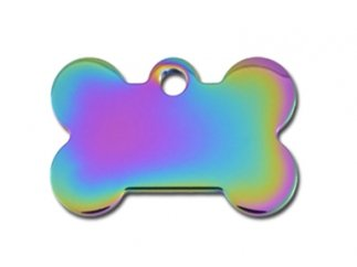 Premium Polished Metal Collection Bone Shape Personalized 2 Side Custom Engraved Pet ID Tags! (Rainbow Gloss, Small (1.187' x.75))