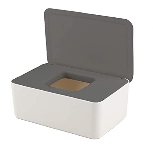 Tuimiyisou Wipe Storage Box Dustproof Tissue Storage Box Wipes Holder with Lid Dry Wet Tissue Paper for Home Office Car Gray White