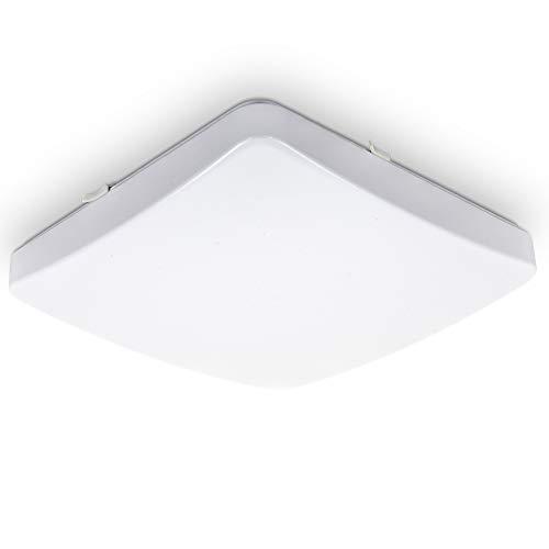 B.K.Licht LED Deckenleuchte I 12W Deckenlampe I 1200lm I 3000K warmweiße Lichtfarbe I IP20 I quadratisch I 27x27cm I Weiß