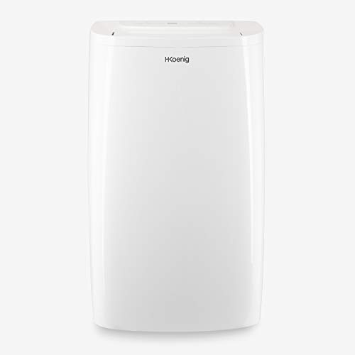H.Koenig KOL7812 Climatizador + Mobile, Aire Frio, Energía Clase A, 5 Funciones, Enfría, Ventila, Deshumidifica, Silence+ y Calefacción, 3500 W, programable 24h, Pantalla LCD, blanco