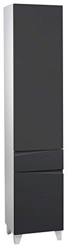 CAVADORE Hochschrank SHARPCUT / hoher Badschrank mit gefräster Griffleiste / Front Anthrazit metallic / 2 Türen links & 1 Schublade / Korpus Melamin weiß / Glasablage anthrazit / 40x183x33cm (BxHxT)