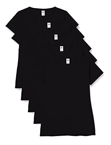 Fruit of the Loom Valueweight T-Shirt 5 Pack Camiseta, Negro (Black 36), M (Pack de 5) para Mujer