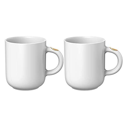 TDMYCS Coffee Mug Drinking Cups Premium Quality Ceramic Mug for Home Office Gift 350ml/12oz Mugs (Color : White×2)