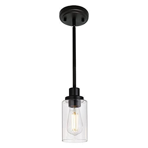 MELUCEE Black Pendant Light 1-Light Modern Dining Room Lighting Fixtures Hanging Mini Chandelier Lighting for Kitchen Island, Pendant Lamp Ceiling Hanging for Stair Hallway