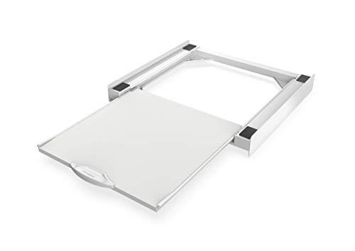 Meliconi Base Torre Pro - Kit de sobreposición universal para lavadora y secadora con estante extraíble y correa de seguridad incluida, fabricado en Italia, blanco, M