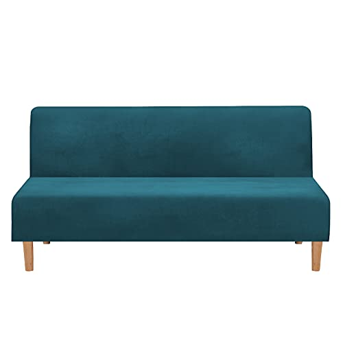 Mingfuxin Armless Sofa Bed Covers, Stretch Velvet Futon Couch Cover Thick Soft Cozy Sofa Bed Slipcover Furniture Protector Armless Folding Sofa Bed (Thick Velvet   Water Blue)