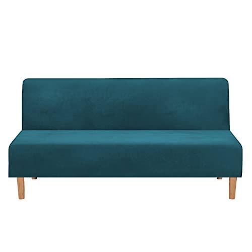 Mingfuxin Fundas para sofá cama sin brazos, terciopelo elástico, para sofá cama, funda gruesa y suave y acogedora, protector de muebles, sofá cama plegable sin brazos (terciopelo grueso | azul agua)