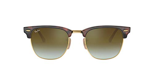Ray-Ban Unisex Clubmaster Sonnenbrille, Mehrfarbig (Gestell: rot (Havana),Gläser: grünverlauf 990/9J), Medium (Herstellergröße: 51)
