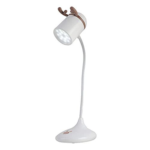 Luz Lectura Protección Ocular, Weskjer Cornamenta Lámpara Escritorio LED, Lámpara de Mesa, Flexo LED Escritorio, White, Warm, Naturel