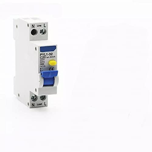 LUOXUEFEI Disyuntor Diferencial Interruptor Disyuntor Automático Diferencial De Corriente Residual De 18Mm 230V 1P N Con Protección Contra Fugas De Sobrecorriente