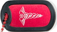 Graphotype™ Einzelne Rote Notfallmarke:1 personalisierten Erkennungsmarken im Armeestil mit Kugelkette & Schalldämpfern