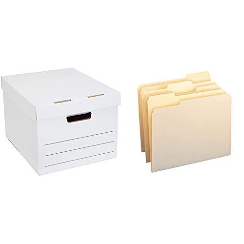 Amazon Basics Medium Duty Storage Filing Box with Lift-Off Lid - Pack of 12, Letter / Legal Size & 1/3-Cut Tab, Assorted Positions File Folders, Letter Size, Manila - Pack of 100