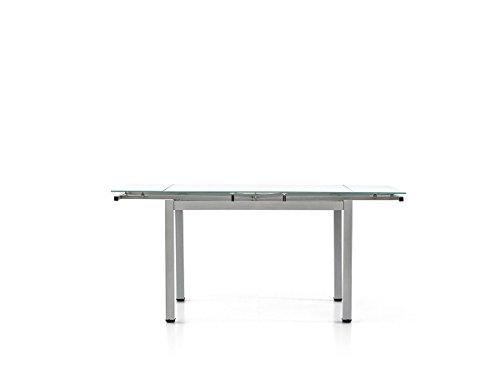 Lo Scrigno Arredamenti W607/M Table rectangulaire extensible avec plateau en verre, gris, 110-170 cm