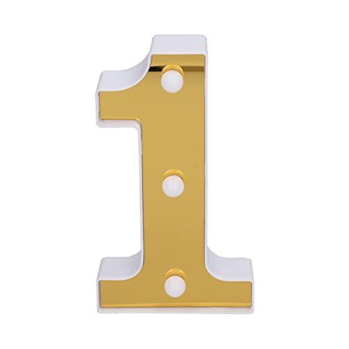 Signo de número 1 Luces de modelado digitales doradas Luz LED decorativa para bodas Fiesta de cumpleaños Propuesta de Navidad Vacaciones Confesión Conmemoraciones Hogar Bar Decoración Blanco cálido