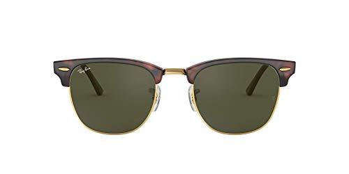 Ray-Ban Clubmaster - Gafas de sol para hombre, Marrón (Marco: Marrón Tortoise Glas: Verde W0366), 51 milímetros