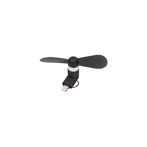 New Updated Cool USB Quiet Fan Compatible with iPhone/Samsung/Android, 2-in-1 Micro USB - Portable Mobile Phone Fan with Fine Motor - Compact Silent USB Fan 1.5W - Portable Fan for Hot Weather (Black)