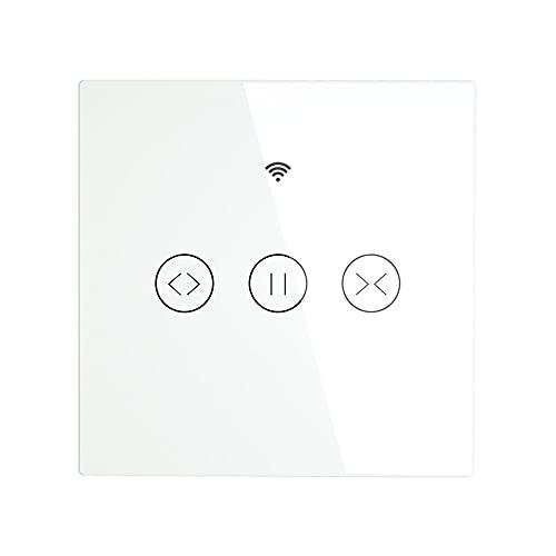 LOKOER WiFi RF433 Panel táctil inteligente Cortina Interruptor de obturador enrollable Persianas Smart Life App Control remoto Funciona con Alexa Echo