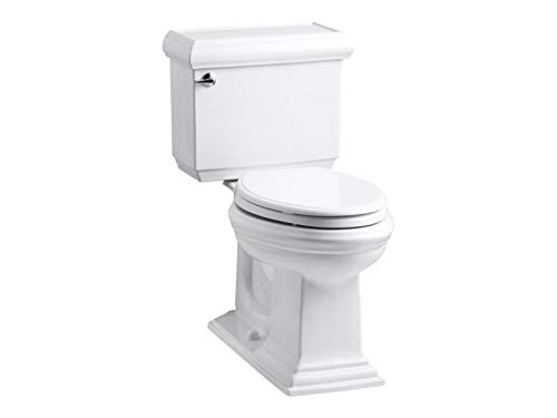 Kohler K-3818-0 Memoirs Comfort Height Two-Piece Elongated 1.6 gpf Toilet with Classic Design, White