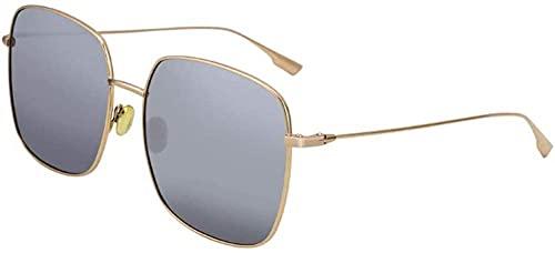 Gafas de sol cuadradas grandes con borde dorado, con protección UV400, color plateado