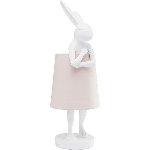 Kare Design Tischleuchte Animal Rabbit, weiß, schöne Tischlampe in Hasen Form, rosé Lampenschirm, edele Tischleuchte, (H/B/T) 68x23x23cm