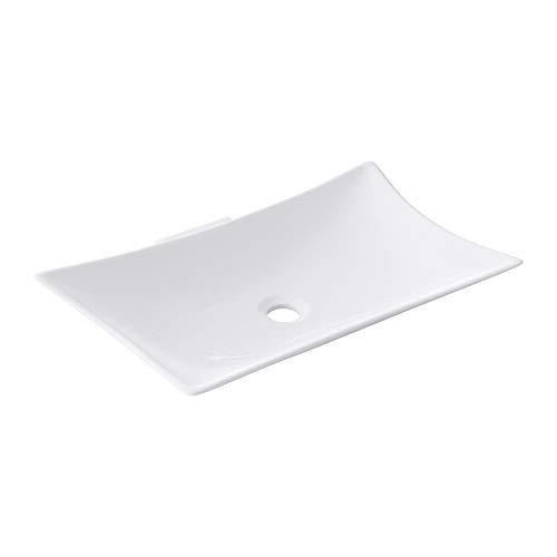 doporro Aufsatzwaschbecken aus Keramik, weiß inkl. Nano-Versiegelung BTH: 56,5 x 37,5 (+8,5) x11 cm | Waschbecken, Waschschale