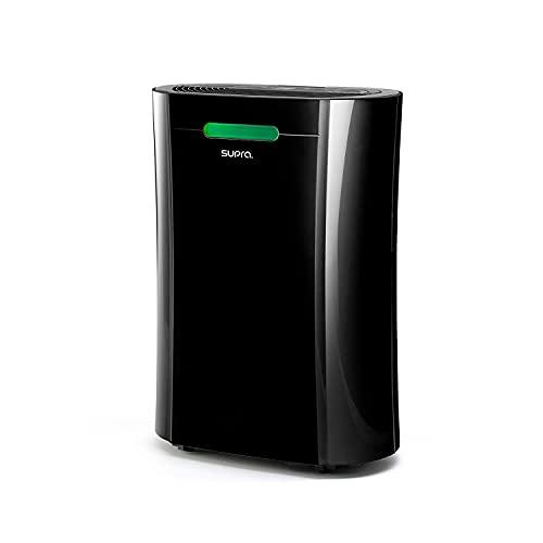 SUPRA RESPIRE - Deshumidificador y purificador, capacidad 10l/24h, filtrado HEPA, función UV contra polvo, olores, gérmenes y bacterias, R290, temporizador, indicador nivel humedad, negro