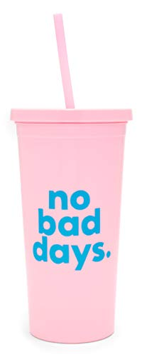 Ban.do Saying Sip Sip Insulated Travel Tumbler with Reusable Straw, 20 Ounces, No Bad Days