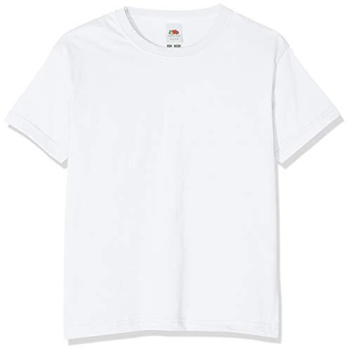 Camiseta de manga corta para niños, de la marca Fruit of the Loom, Unisex Blanco blanco 5 años