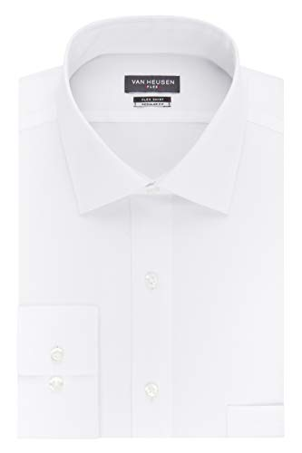 Van Heusen Men's Dress Shirt Regular Fit Flex Collar Stretch Solid, White, 18' Neck 36'-37' Sleeve (XX-Large)