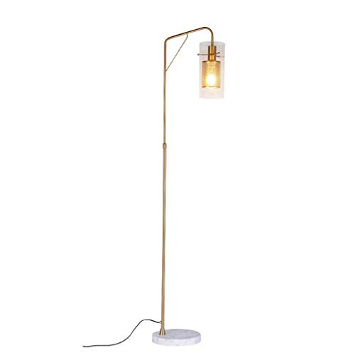 DXXWANG Floor Lamp Reading Decorative Lights,for Living Room Indoor Lighting Ledfor Living Room Bedroom Standing Industrial Light with Hanging Glas Lamp,Brass Gold