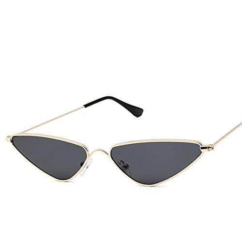 UKKD Gafas De Sol Mujeres Pequeño Marco Gafas De Sol Moda Triángulo Marco De Metal Gafas Popular Multicolor-Gold Gray