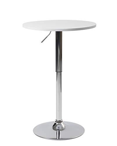 KAYELLES Table de Bar Design Hauteur réglable Plateau MDF - Ronde 60cm (Blanc)