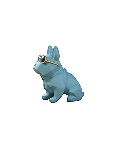 Unique Mini Geometric Dog Doggy with Sunglasses Figurine Blue, Animal Statues, Home Garden Bar Décor Ornament