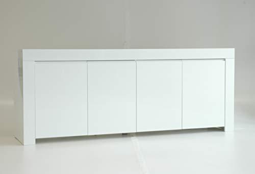 Decoris Furniture Assembled 210cm white gloss sideboard-Amalia