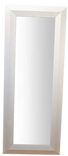 MO.WA Grand Miroir avec cadre en bois cintré cm. 79x199. Finition blanc shabby chic vintage. Made in Italy.